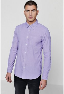 Mens Lilac Long Sleeve Check Smart Shirt