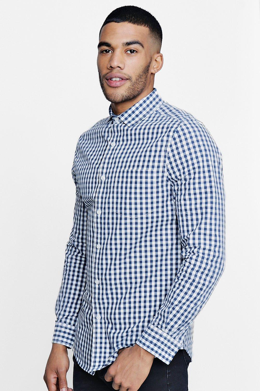 Chemise coupe slim habillée à carreaux vichy | Boohoo