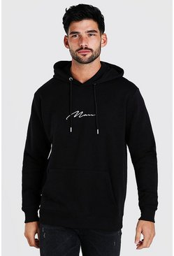 Mens Black Man Signature Over The Head Fleece Hoodie