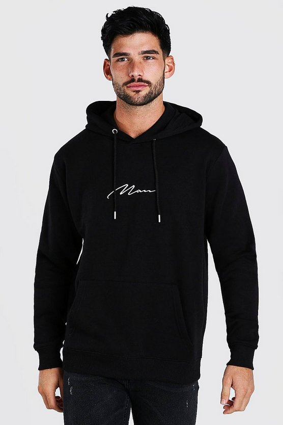 Mens Black MAN Signature Embroidered Hoodie
