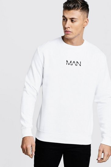 White Original Man Print Sweater
