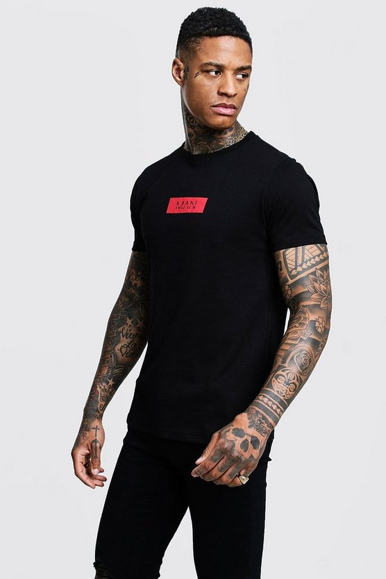 Mens Black MAN Red Box Logo Print T-Shirt