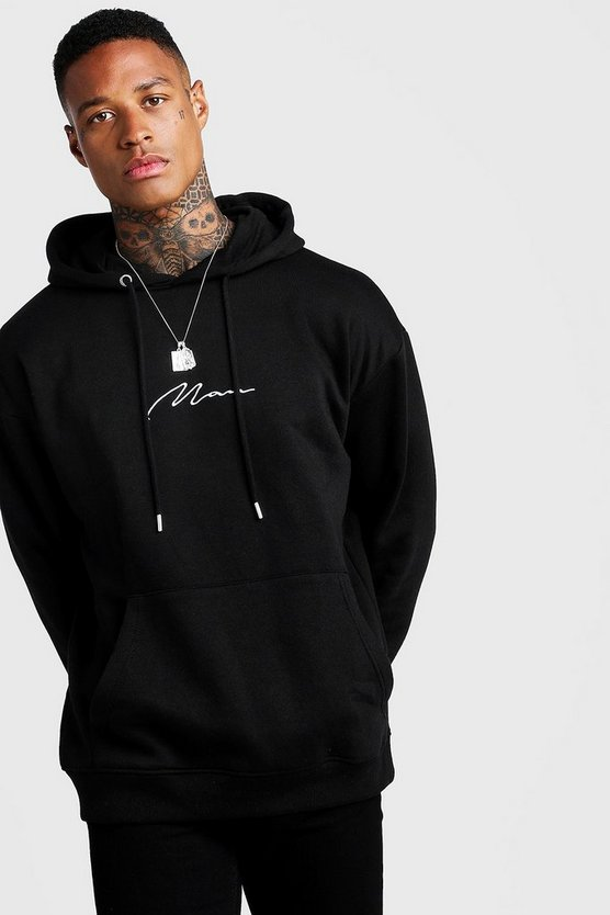 Mens Black Oversized MAN Signature Hoodie
