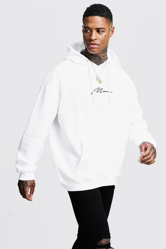 Mens White Oversized MAN Signature Hoodie