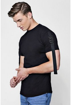 Mens Black Drop Shoulder T-Shirt With Taping