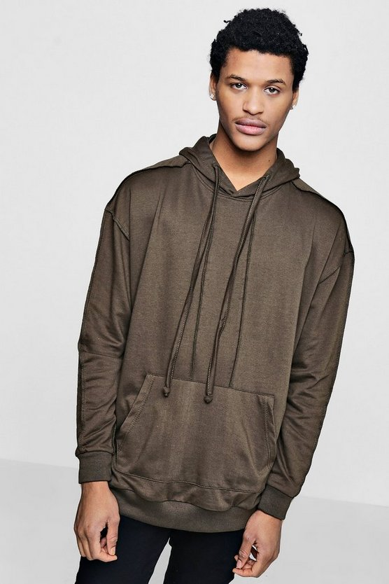 Mens Khaki Oversized Exposed Seam Hoodie