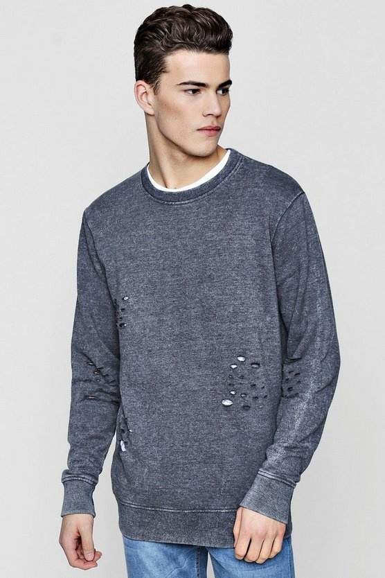 Distressed Sweater With Enzyme Wash