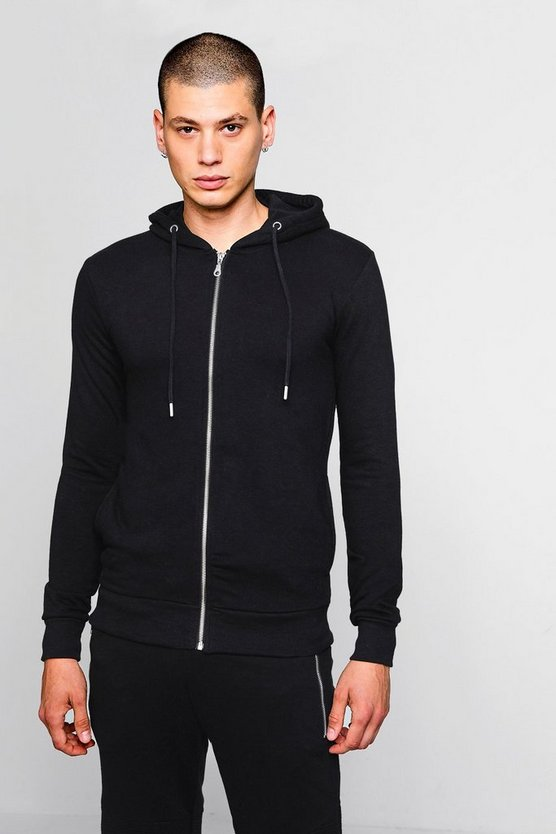 Mens Black Lightweight Muscle Fit Hoodie