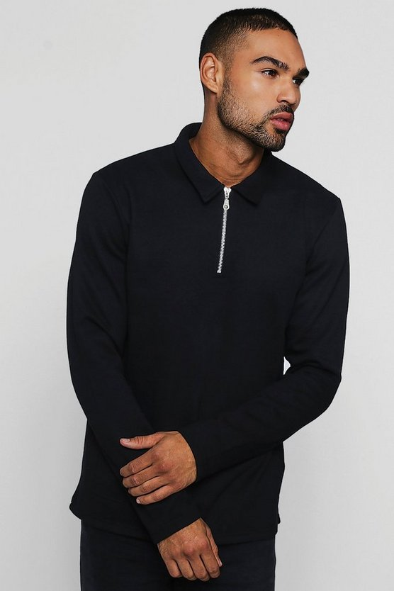 Mens Black Sweater With Collar And Zip