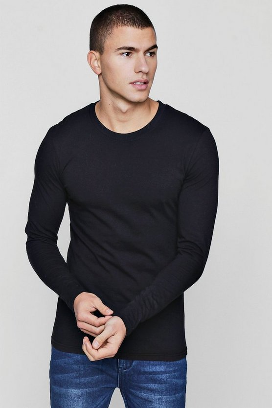 Long Sleeve Muscle Fit T-Shirt, Black, HERREN