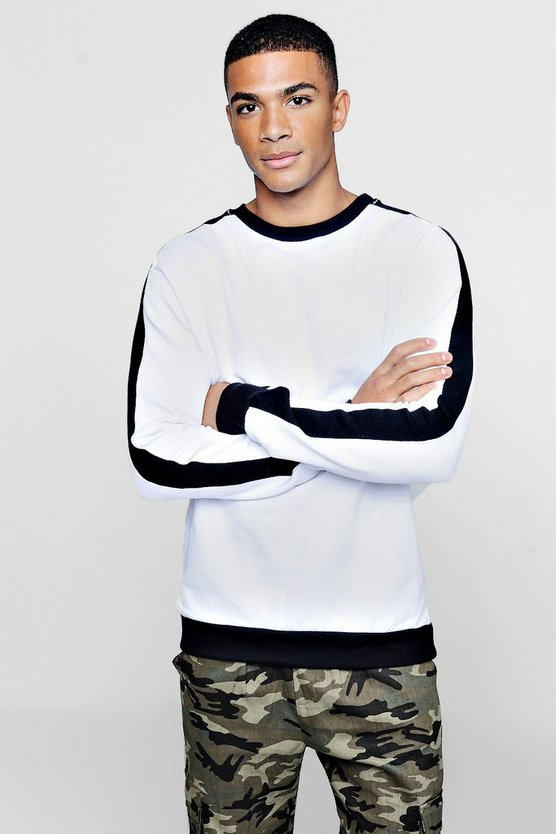 Mens Black Oversized Sweater With Contrast Panel