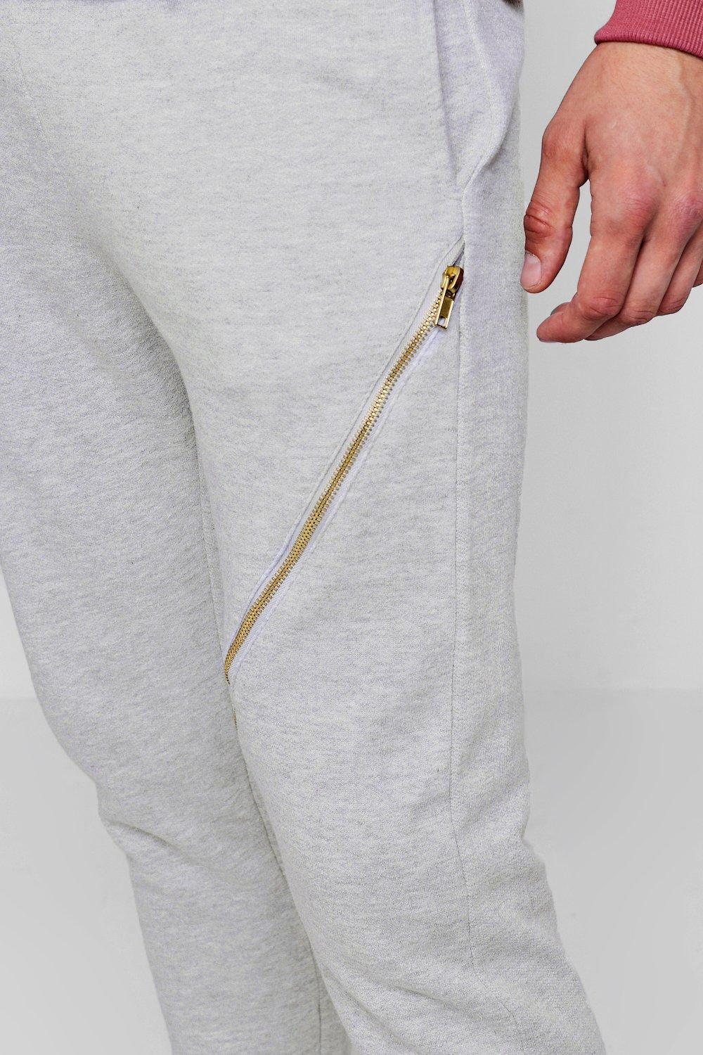 marl Gold grey Skinny Zips Joggers With qY6gPX