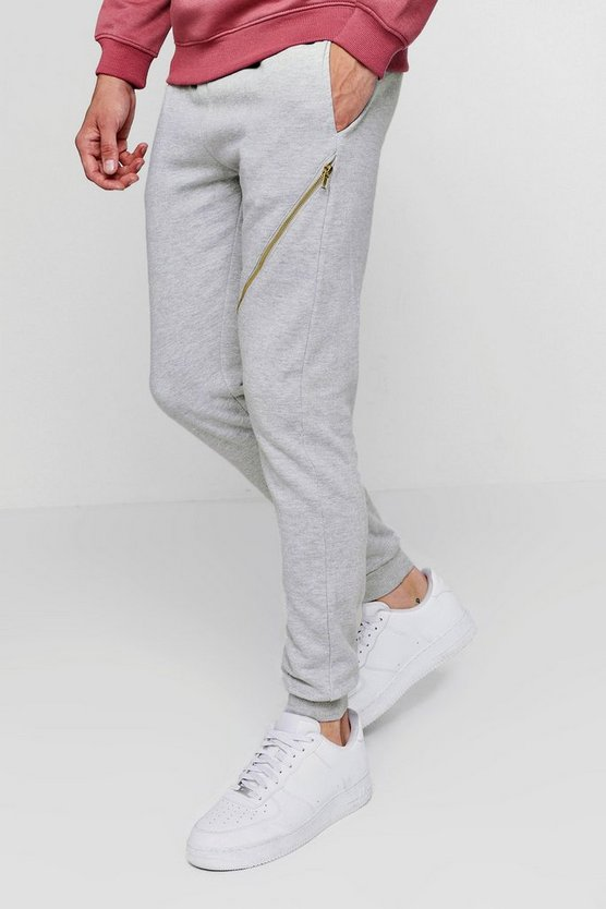 Skinny Joggers With Gold Zips