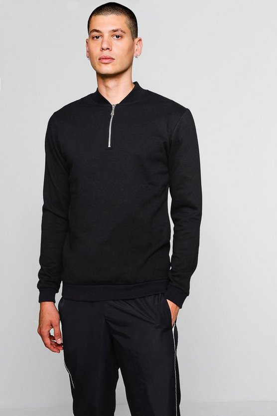 Mens Black Track Sweater With Zip