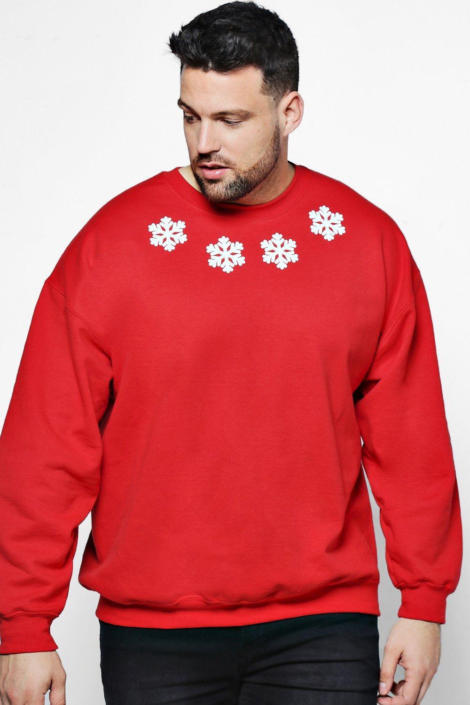 Big And Tall Christmas Snow Flake Sweater