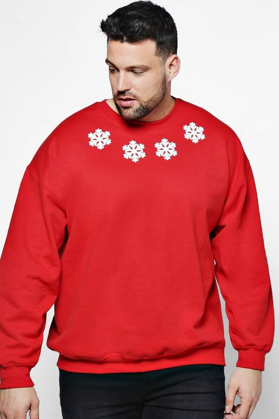 Big And Tall Christmas Snow Flake Sweater