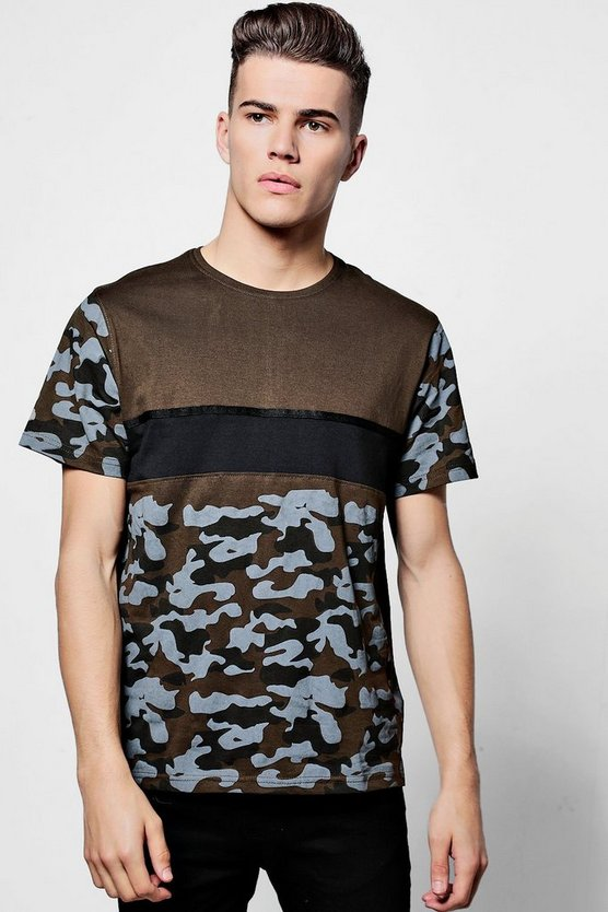 Camo Colour Block T Shirt