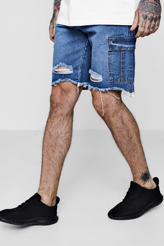 Bermuda Denim Shorts with Cargo Pockets