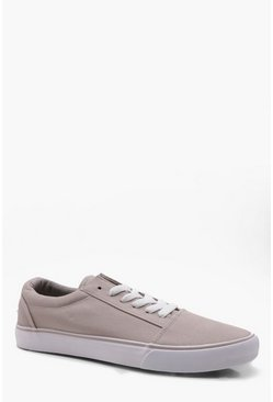 Herr Beige Lace Up Toe Cap Plimsole