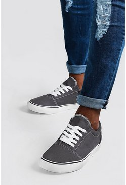Mens Grey Lace Up Toe Cap Plimsole