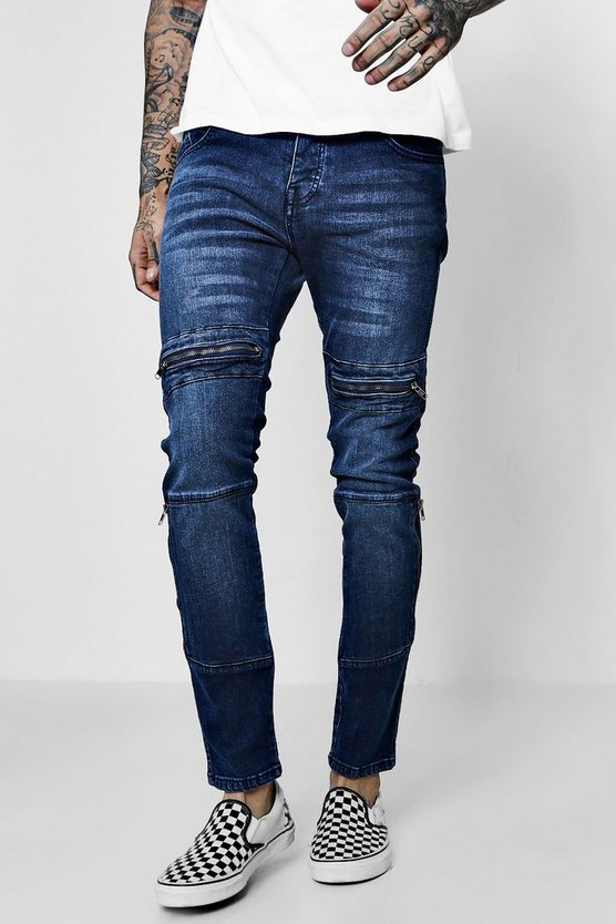 Skinny Fit Panelled Jeans With Zip Detailing