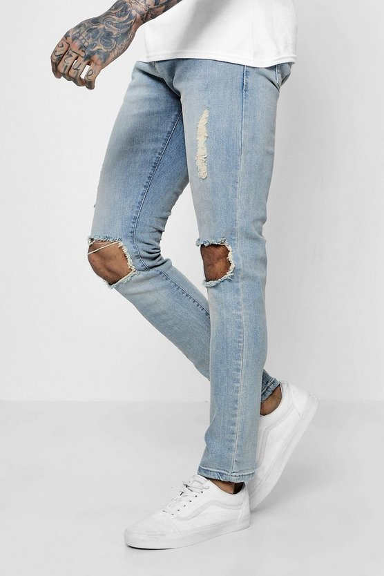 Skinny Fit Light Blue Jeans With Ripped Knees