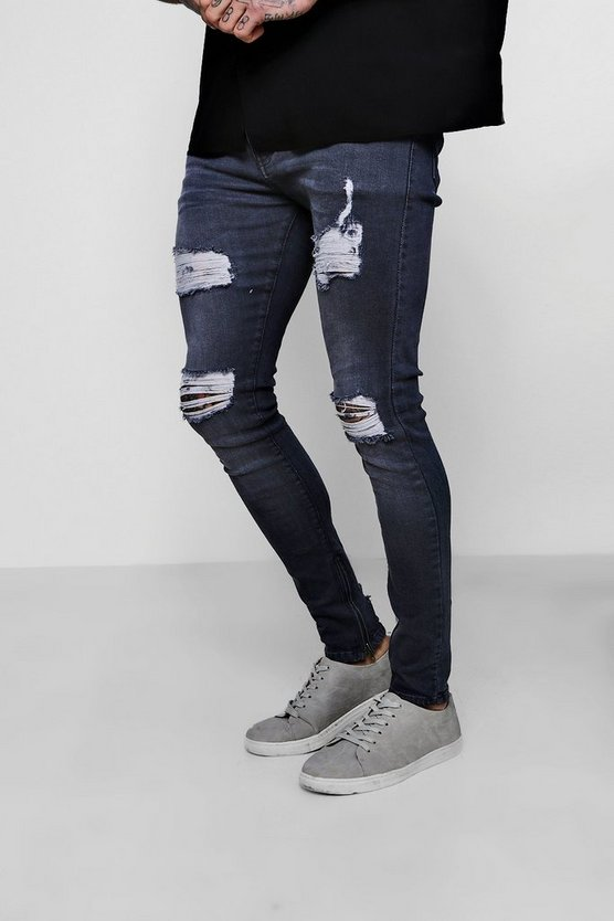 Super Skinny Jeans With Distressed Knees And Thighs