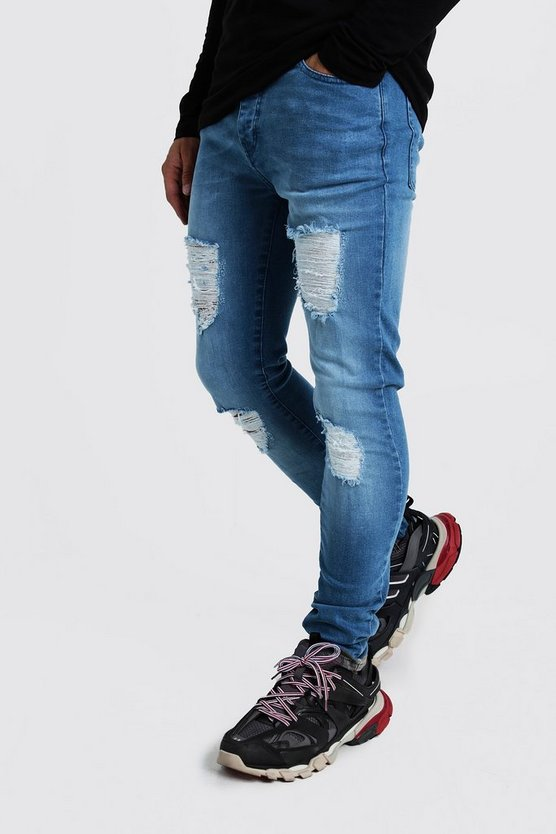 Mens Washed blue Super Skinny Jeans With Distressed Knees