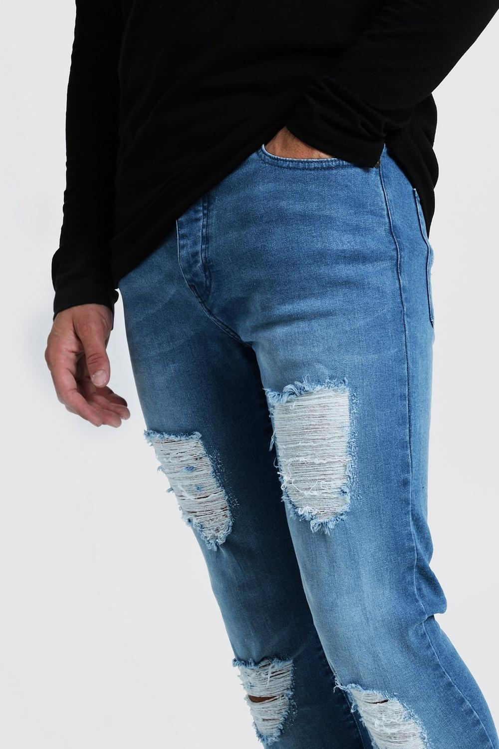 Skinny blue Knees With washed Super Jeans Distressed d17cqwdS6v