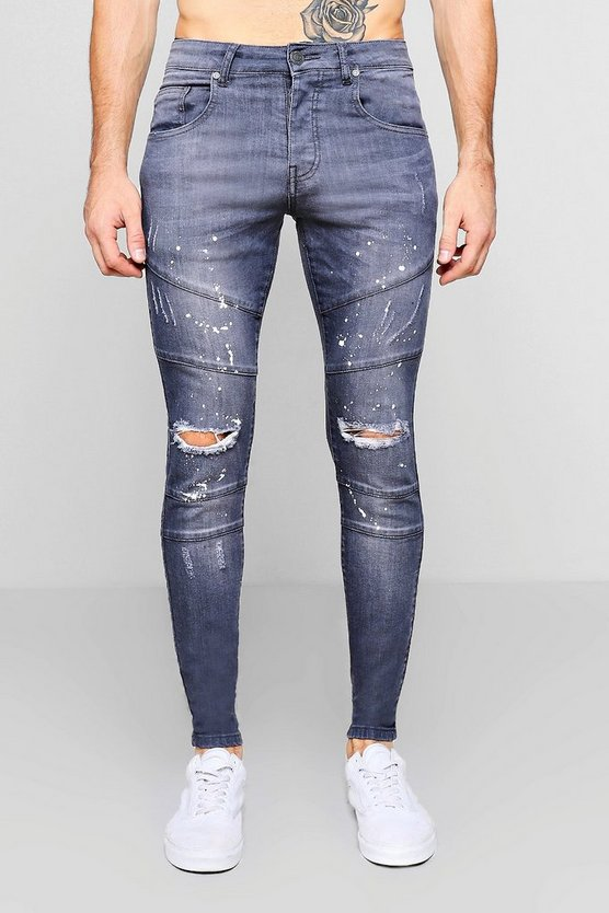 Mens Grey Skinny Fit Panelled Jeans With Paint Splatter