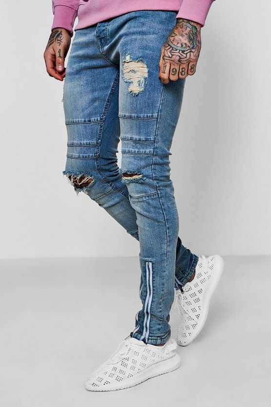 Super Skinny Denim Jeans With Double Zip Cuff