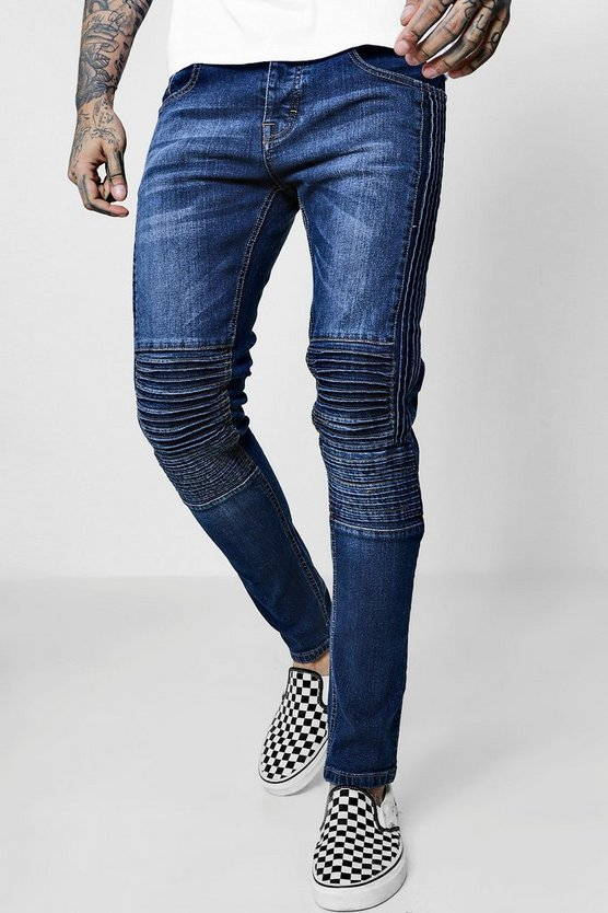 Skinny Fit Jeans With Panelled Biker Detail