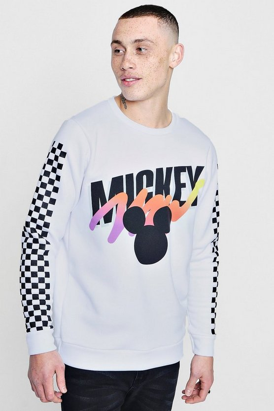 Mens White Disney Mickey Sweater With Checkerboard Sleeve