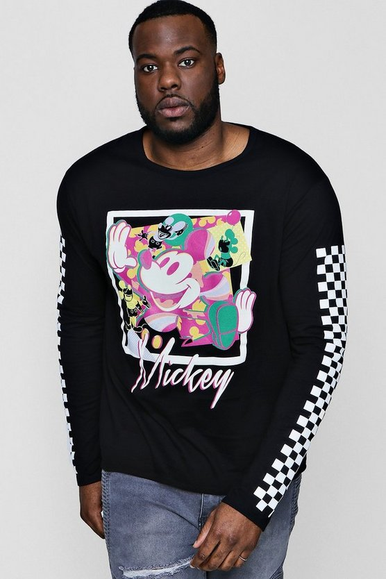 Big And Tall Disney Long Sleeve Checkerboard Tee