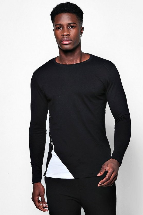 Long Sleeve Contrast Zip Panel T-Shirt