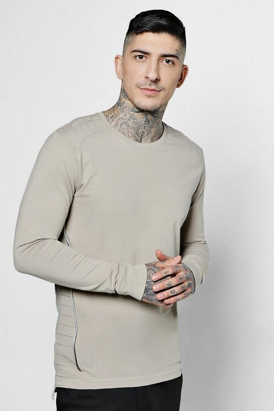 Long Sleeve Zip T-Shirt With Step Hem
