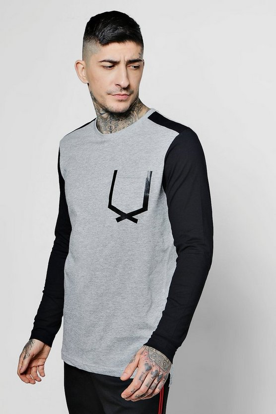 Long Sleeve Contrast Pocket Print T-Shirt, Серый меланж, Мужские