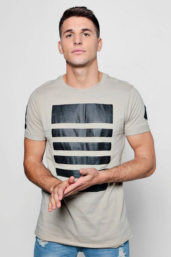 Stripe Print T-Shirt With Roll Sleeves