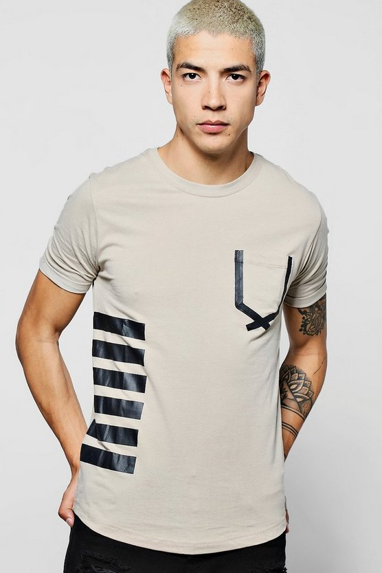 Longline Printed T-Shirt With Curve Hem