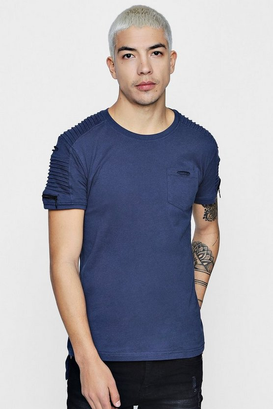Zip Biker T-Shirt With Step Hem