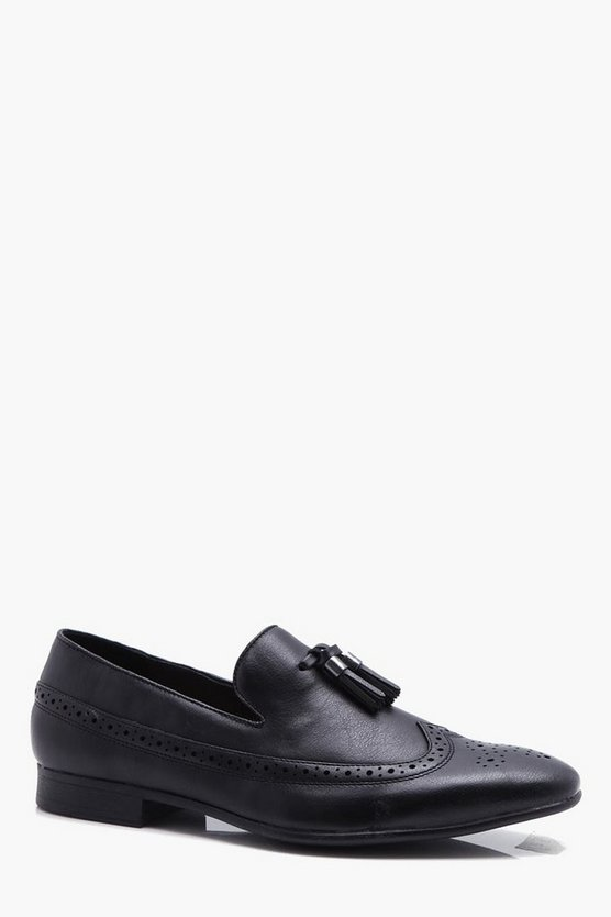 Mens Black Brogue Detail Tassel Loafer