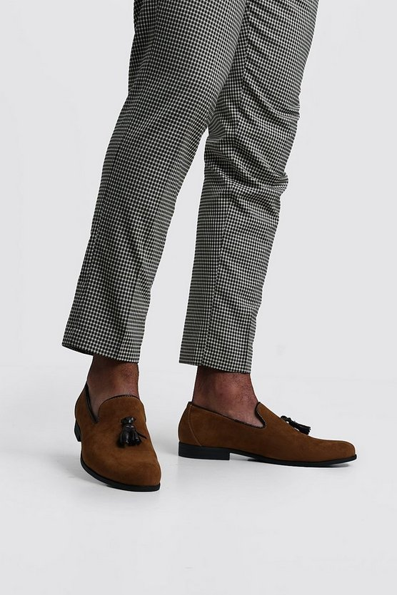 Faux Suede Tassel Loafer, Tan, Uomo