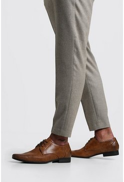 Embossed Vamp Smart Shoe, Tan, Uomo