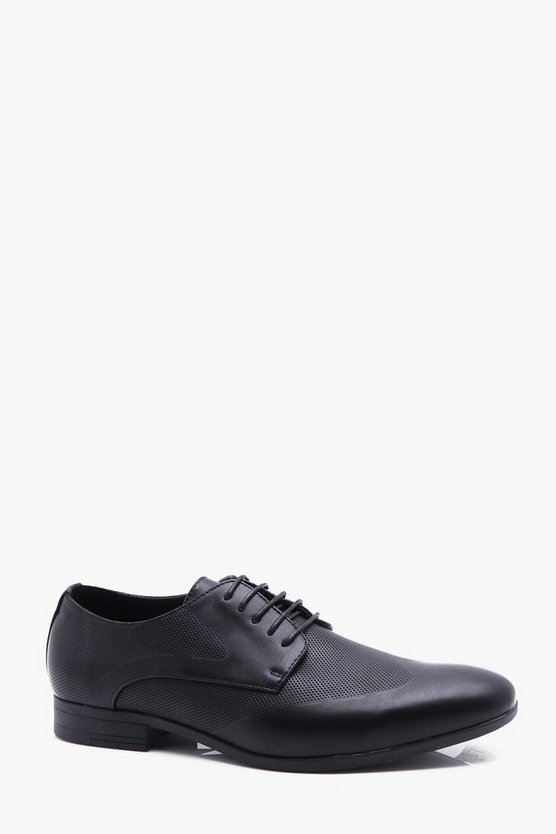 Mens Black Smart Shoe With Brogue Punch Detail