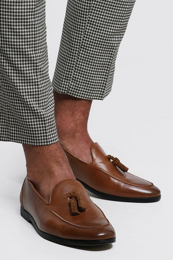 Mens Tan PU Tassel Loafer