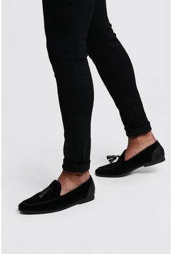 Faux Suede Tassel Loafer, Black, Uomo