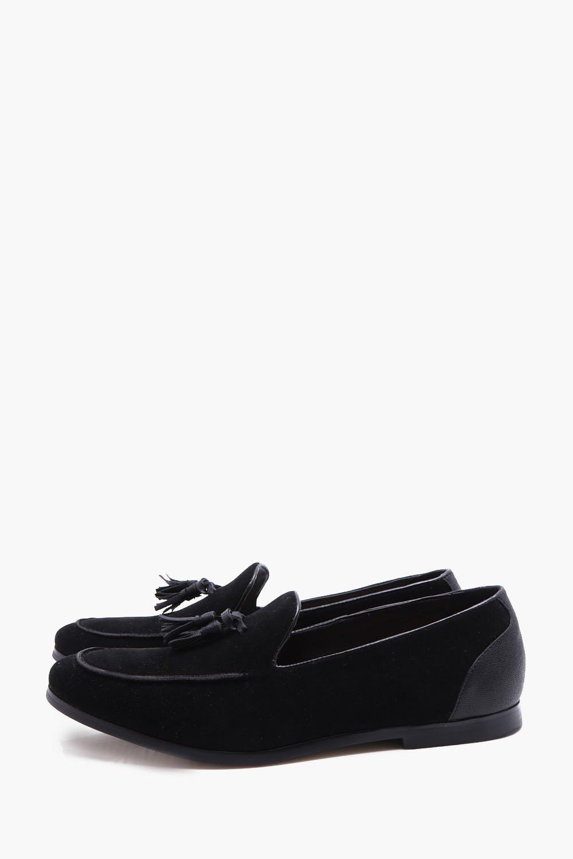 f4bb7b0dff0 Boohoo Mens Faux Suede Tassel Loafer in Black size 10