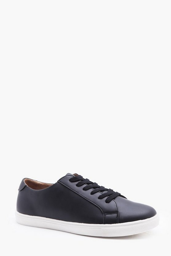 Leather Look Smart Trainer, Black, HOMMES