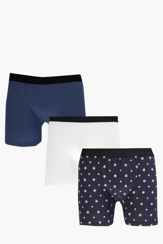 3 Pack Snow Flake Christmas Boxers