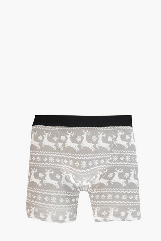 Mens Grey Fairisle Christmas Boxers